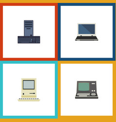 flat icon laptop set of notebook computing vector image