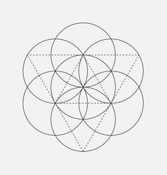 Flower of life sign geometric symbol vector