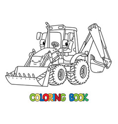 Funny constuction tractor with eyes coloring book vector