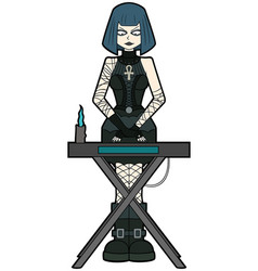 Goth woman keyboardist playing on synthesizer vector
