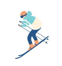 Guy in snow suit skiing man on skis sportsman vector