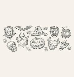 Halloween concept hand-drawn symbols vintage vector