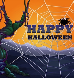 Halloween theme with spider web vector image