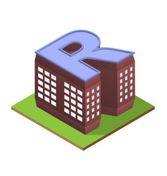 Isometric building letter r form vector