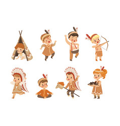 kids in native indian costumes and headdresses vector image