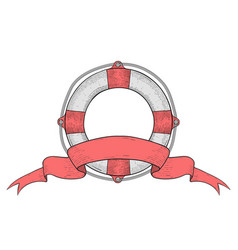 Lifebuoy with ribbon baner hand drawn colored vector