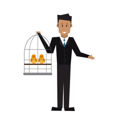 man holding a cage with bird veterinary concept vector image