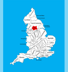 Map west yorkshire in yorkshire and humber vector
