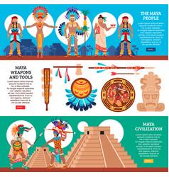 Maya horizontal banners set vector