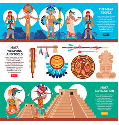 maya horizontal banners set vector image