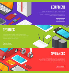 Modern technics and digital appliances set vector