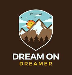Mountain adventure logo retro camping emblem vector