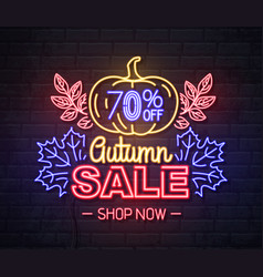 neon sign autumn big sale with pumpkin vector image