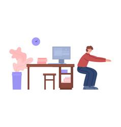 Office worker breaks for sport workout flat vector