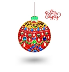 Original handmade red ball decoration and vector