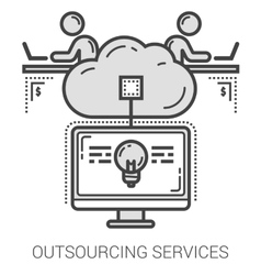 Outsourcing services line icons vector image