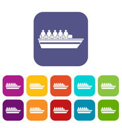 People on ship icons set vector