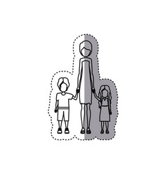 People woman with her children icon vector