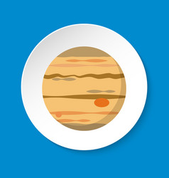 Planet jupiter icon in flat style on round button vector