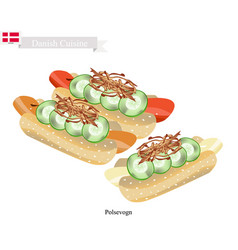 Polsevogn or hot dog a polpular food of denmark vector