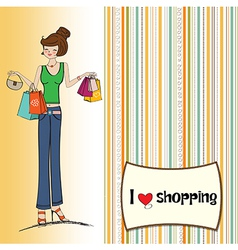 Pretty young lady at shopping vector
