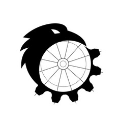 Raven merging to cog icon vector