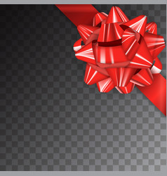 red realistic glossy ribbon bow on transparent vector image
