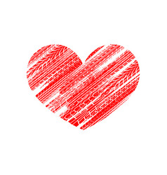 Red tire track heart vector