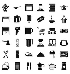 restaurant utensil icons set simple style vector image vector image