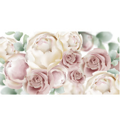 roses watercolor banner delicate flowers pattern vector image