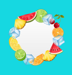 Round fruit frame with ice cubes pineapple vector