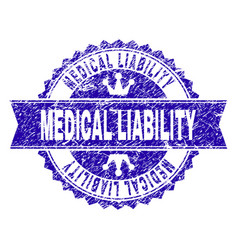 Scratched textured medical liability stamp seal vector