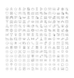 set flat line icons business seo web vector image