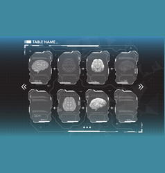 Set hud infographic panels with brain head-up vector