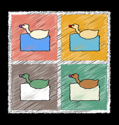 set of flat shading style icons kids duck vector image