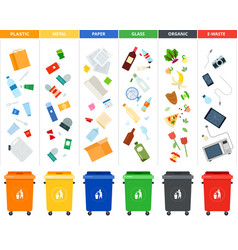 set sorting bins for garbage different vector image