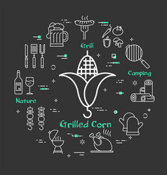 Simple design of barbecue icons on black vector