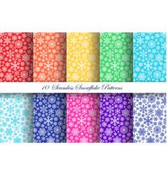 snowflake patterns set vector image