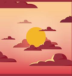 Sunshine landscape design vector