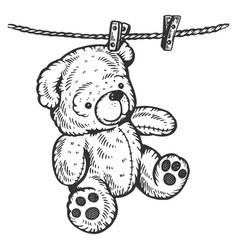 Teddy bear on rope engraving vector