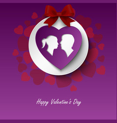 valentine card with lovers and hearts in red vector image