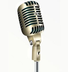 Vintage microphone golden color vector