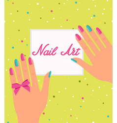 woman hand with colorful fingernails gift vector image