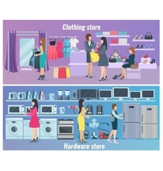 Woman Shopping Flat Banners vector