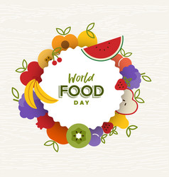 World food day card of flat fruit icons vector