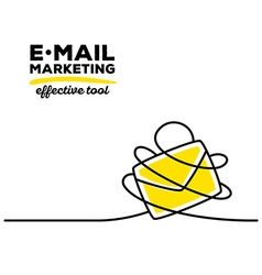 Yellow color envelope with black wire and vector