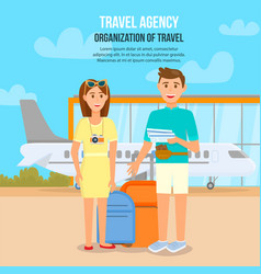 young couple traveling by airplane waiting flight vector image