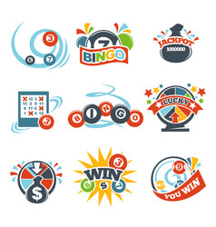 bingo lotto win icons set of lottery jackpot vector image vector image