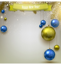 Christmas background with fir twigs and colorful vector image