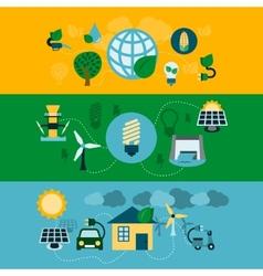 Eco energy horizontal banners set vector image